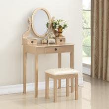 Moniys Wood Moniya Makeup Vanity Table and Stool Set, Gold