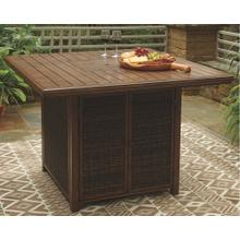 View Product - Paradise Trail Square Bar Table w/Fire Pit Medium Brown