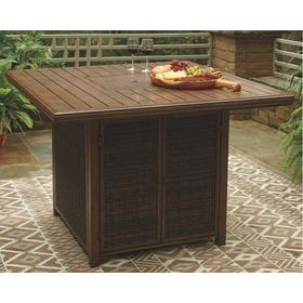 Paradise Trail Square Bar Table w/Fire Pit Medium Brown