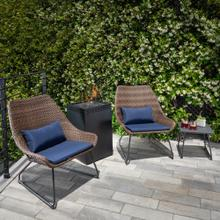 Hanover Accent 4-Piece Woven Chat Set in Navy featuring a 40,000 BTU Column Fire Pit, ACCENT4PCGFP-NVY