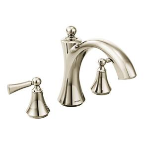 Wynford polished nickel two-handle roman tub faucet