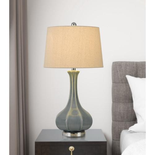 150W Zaire Ceramic Table Lamp With Taper Drum Linen Hardback Shade (Priced And Sold As Pairs)