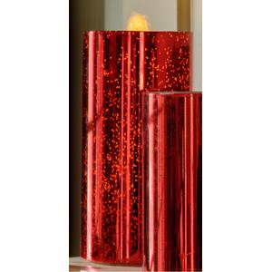"""8"""" Red Shimmer Bubbler Candle w/remote"""