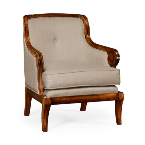 Shallow Carved Walnut Upholstered Occasional Chair
