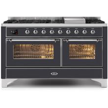 60 Inch Matte Graphite Dual Fuel Natural Gas Freestanding Range