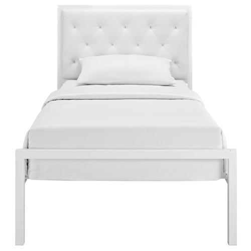 Mia Twin Vinyl Bed in White White