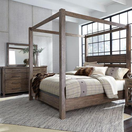 King California Canopy Bed, Dresser & Mirror