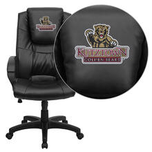Kutztown University Golden Bears Embroidered Black Leather Executive Office Chair