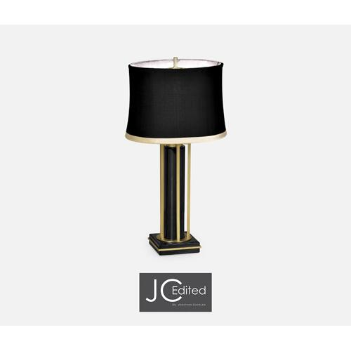 Gilded Iron Table Lamp in Smoky Black