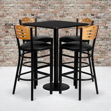 Product Image - 30'' Square Black Laminate Table Set with 4 Wood Slat Back Metal Barstools - Black Vinyl Seat