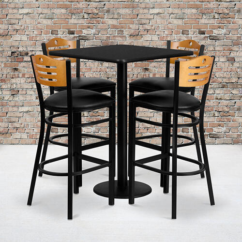 Flash Furniture - 30'' Square Black Laminate Table Set with 4 Wood Slat Back Metal Barstools - Black Vinyl Seat