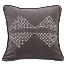 Whistler Gray Velvet Throw Pillow, White Bow-tie