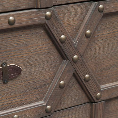Traditional Styled Three Drawer Nail Head Accent Chest with Industrial Influence