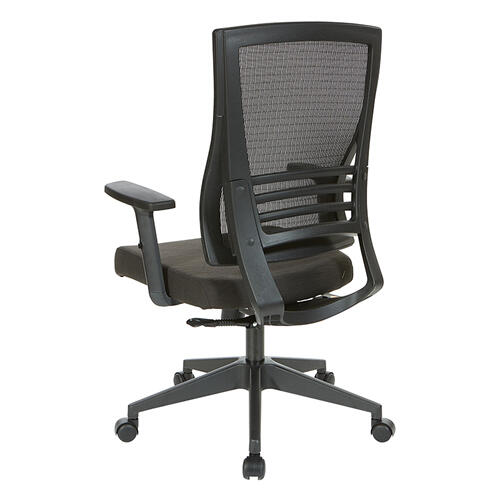 Black Breathable Mesh Back Chair With Pu Padded Arms