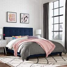 Melanie Twin Tufted Button Upholstered Performance Velvet Platform Bed in Midnight Blue