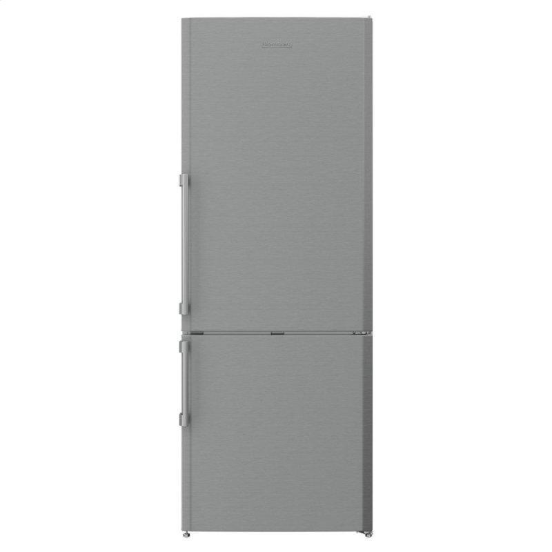27in 15 cuft bottom freezer fridge, stainless steel