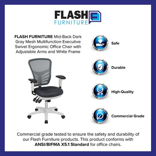 Flash Furniture - Mid-Back Dark Gray Mesh Multifunction Executive Swivel Ergonomic Office Chair with Adjustable Arms and White Frame