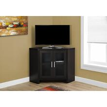"TV STAND - 42""L / ESPRESSO CORNER WITH GLASS DOORS"