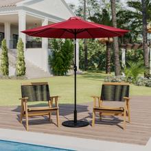 See Details - Red 9 FT Round Umbrella with Crank and Tilt Function and Standing Umbrella Base