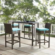 Conduit Bar Stool Outdoor Patio Wicker Rattan Set of 4 in Brown Turquoise
