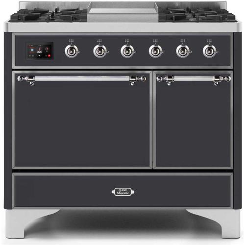 Majestic II 40 Inch Dual Fuel Liquid Propane Freestanding Range in Matte Graphite with Chrome Trim