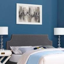 View Product - Laura Queen Upholstered Fabric Headboard in Gray