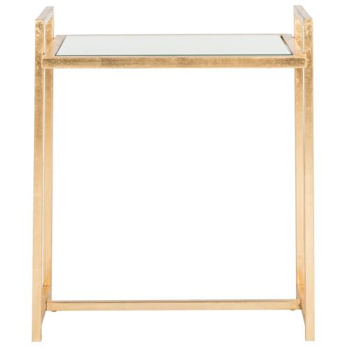 Renly Mirror Top Gold Leaf End Table - Antique Gold