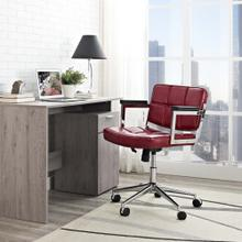 Portray Mid Back Upholstered Vinyl Office Chair in Red