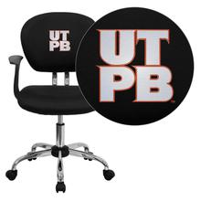 Texas Permian Basin Falcons Embroidered Black Mesh Task Chair with Arms and Chrome Base