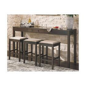 Rokane Table & 3 Barstools Brown