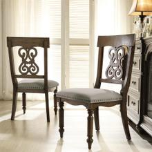 View Product - Belmeade - Scroll Upholstered Side Chair - Old World Oak Finish