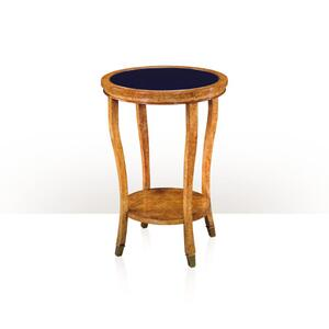 Theodore Alexander - A circular Karelian Birch lamp table - Imperial Blue Glass Top