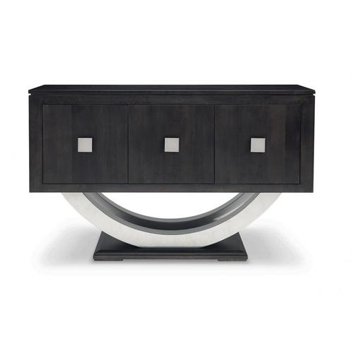 - Contempo Pedestal Sideboard w/Metal Curves and 3 Doors and 3 Adjust. Shelves