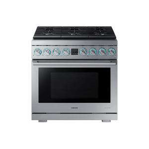 "Samsung6.3 cu. ft. 36"" Chef Collection Professional Dual Fuel Range in Stainless Steel"