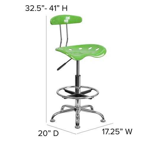 Flash Furniture - Vibrant Spicy Lime and Chrome Drafting Stool with Tractor Seat