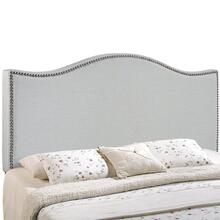 Curl King Nailhead Upholstered Headboard in Sky Gray