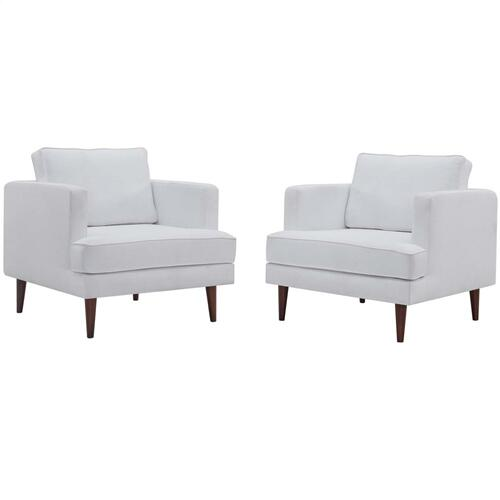 Agile Upholstered Fabric Armchair Set of 2 in White