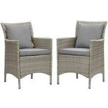 Conduit Outdoor Patio Wicker Rattan Dining Armchair Set of 2 in Light Gray Gray