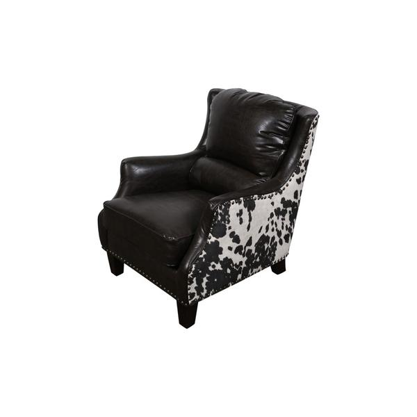 See Details - Wrangler Leather-Look Cow Pattern Accent Chair, AC555