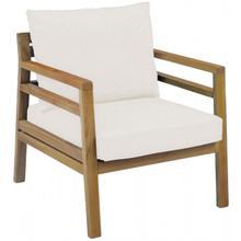 Modern Teak Lounge Chair w/off-white cushion