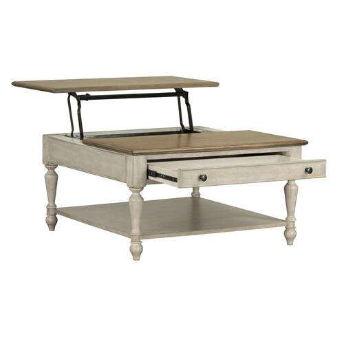 Montgomery Light Lift Top Coffee Table, Two Tone Finish