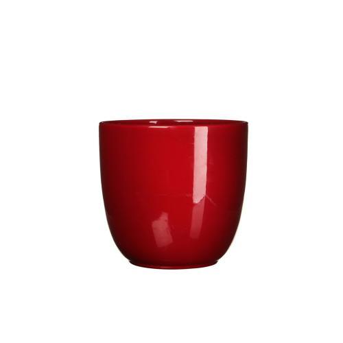 Tusca Round Planter Gloss Red (min.18pcs)