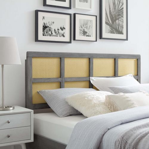 Luana Cane Queen Headboard in Gray