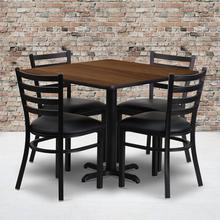 Product Image - 36'' Square Walnut Laminate Table Set with X-Base and 4 Ladder Back Metal Chairs - Black Vinyl Seat