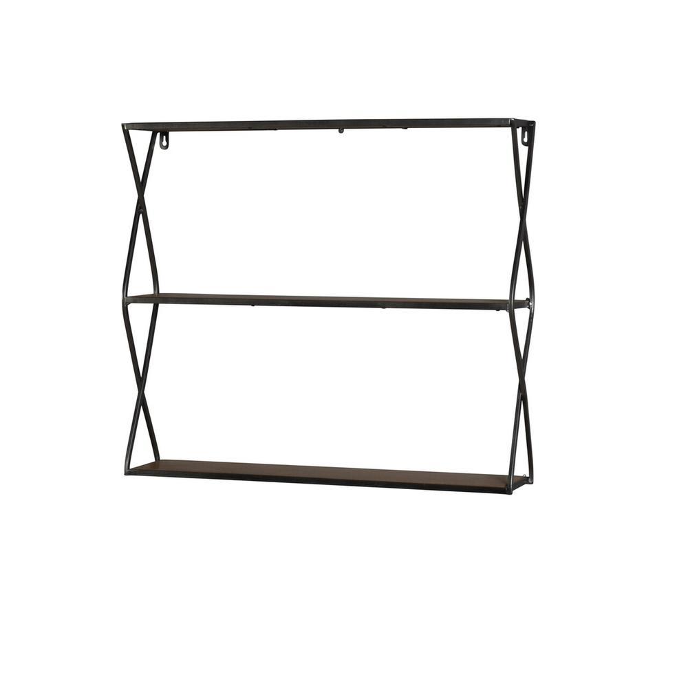 "Metal / Wood 25"" 3 Tier Wall Shelf, Brown"