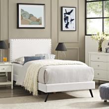 Macie Twin Vinyl Platform Bed with Round Splayed Legs in White