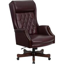 High Back Traditional Tufted Burgundy Leather Executive Swivel Ergonomic Office Chair with Headrest and Arms