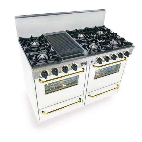 """48"""" All Gas Range, Open Burners, White with Brass Trim"""