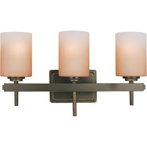 3-lite Wall Lamp, Dark Bronze/amber Glass Shade,a 60wx3