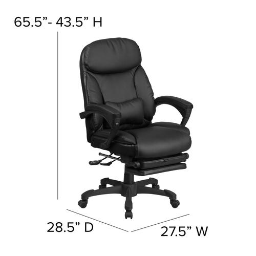 Gallery - High Back Black LeatherSoft Executive Reclining Ergonomic Swivel Office Chair with Comfort Coil Seat Springs and Arms